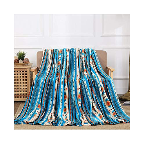 Southwest Fleece Blanket - All American Collection New Super Soft Printed Throw Blanket (Queen Size, Blue Southwest )