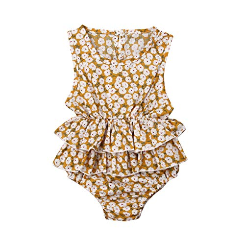 Newborn Baby Girl Romper Floral Print Vintage Jumpsuit Outfit Playsuit Clothes (0-6M, Ruffles/Yellow)