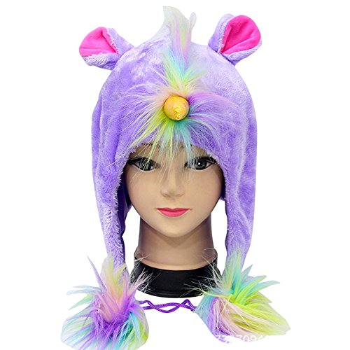 Unicorn Hats, Cute Animal Hoodie Hats Plush Headwear Kids Party Christmas Cosplay Gift Rainbow (Purple)