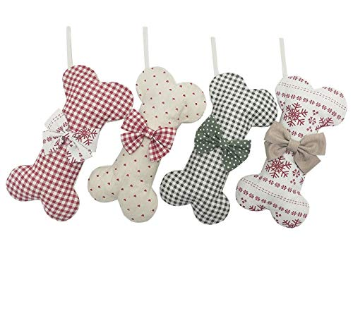 (Extra Large) Cotton Christmas Stocking Dog Bone Holidays Gingham Dog Bone for Pets Christmas Ornament #2 Heart-16 inches x 9 (Dog Bone Stocking)