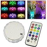 Soondar® 10-LED RGB Submersible LED Light, Multi Color Waterproof Wedding Party Vase Base Floral Light + Romote Control