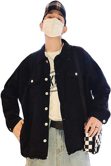 (シジャァーノ)デニムジャケット メンズ 黒 ダメージ加工 gジャン アウター ゆったり 穴がある 無地 デニムアウター プルオーバーコート 韓国風 原宿風 ストリート系アウター おしゃれ