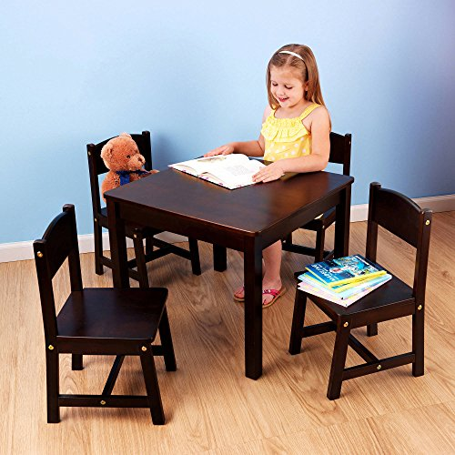 Children's Furniture Room Hand-Painted Wooden Espresso Activity Small Kids Study Square Table and 4 Chairs Set Indoor Farmhouse (Dinner Table Chair)