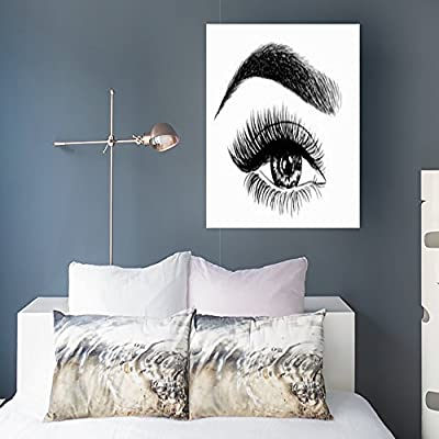 Canvas Prints Wall Art For Living Room Woman Eye Perfect Eyebrows Makeup Look Beauty Fashion Eyebrow Eyelash Lips Design 16x16 Inches Painting Artwork