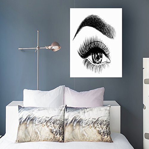 Canvas Prints Wall Art for Living Room Woman Eye Perfect Eyebrows Makeup Look Beauty Fashion Eyebrow Eyelash Lips Design 16x16 Inches Painting Artwork Framed Stretched Decoration Ready to Hang ()