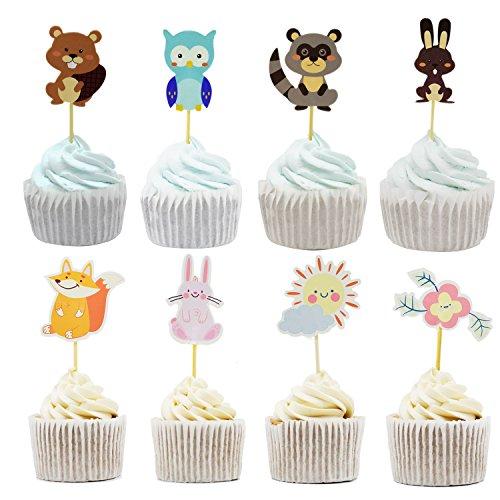 Animal Cake Cupcake Toppers Picks for Wedding Birthday Baby Shower Party Decorations Supplies, Pack of 48 by (Owl Baby Shower Cake)