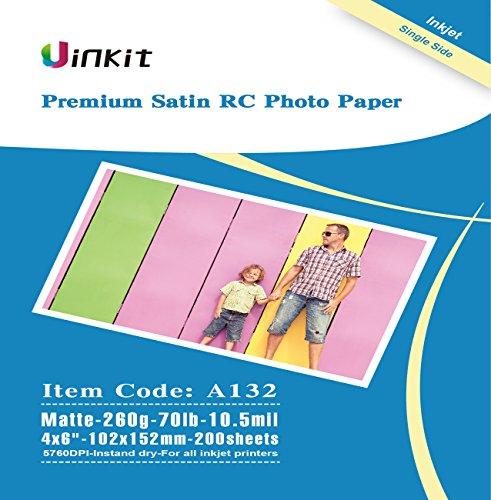 RC Premium Photo Paper Satin - 4x6 Matte Matt Photographic Paper 100% Waterproof - Uinkit 200Sheets For Inkjet Printing