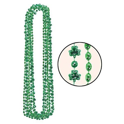 amscan St. Patrick's Day Green Plastic Shamrock Bead Necklace Pack,   Party Accessory, 12 Pk