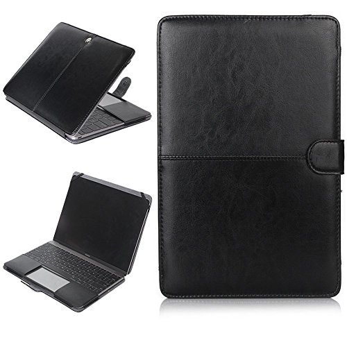 Macbook air Case,Vacio Premium PU Leather Luxury Bookstyle Stand Folio Slim Fit Lightweight Stylish Classic Style Ultra Thin Retro Case for Macbook air 11.6 Inch -Black by Vacio