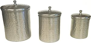 ZUCCOR 3 Piece Stainless Steel w/Hammered Nickle Plated Exterior Canister Set | Food Storage Container for Kitchen Counter - 9