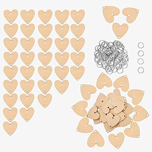 100 PCS Wooden Hearts Shapes,Sets with 2 Holes,YuQi 1.2 Inch Wedding Wood Discs,Unfinished for Party, Family Birthday Board Tags,Christmas Crafts for DIY Ornaments Hanging Gifts Decor(Yellow)