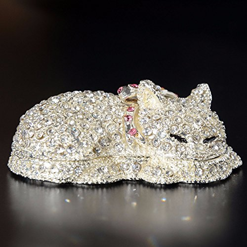 Crystal Bejeweled Cat Treasured Trinket Jewelry Box for Necklace Collectible Figurine Christmas Gift