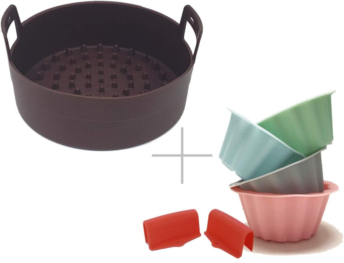 Air Fryer Silicone pot 9 Inch [Save money with Accessories kit] Big Silicone Molds for Egg bites - Muffin, Silicone Holder for Gowise Phillips USA Cozyna Airfryer, Fit all 3.7QT-5.3QT-5.8QT-6.8QT