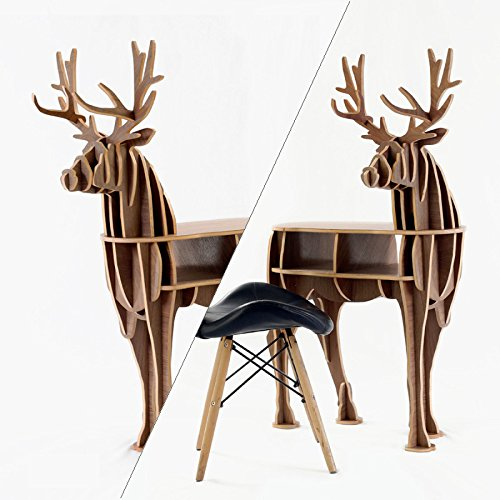SUNDAY-QH Shelf Nordic Deer Shaped Sofa Corner Cabinet Creative Office Solid Wood Bookshelf Living Room Entrance Table Decoration 1 (Birch Corner Cabinet)