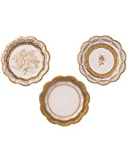 Talking Tables Gold Party Decorations   Gold Paper Plates   White And Gold Plates   Great For Wedding, Hen Party, Christmas And Birthday Decorations   Small