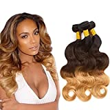 Brazilian Ombre Body Wave 3 Tone Hair Bundles Virgin Hair Weave 3 Bundles