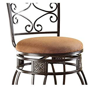 Acme Furniture Tavio Fabric Swivel Bar Stool – Set of 2