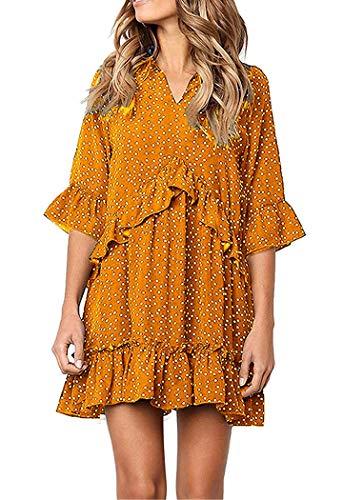 Hunchii Women's Ruffle Polka Dot Pocket Loose Swing Casual Short T-Shirt Dress (Yellow, M)