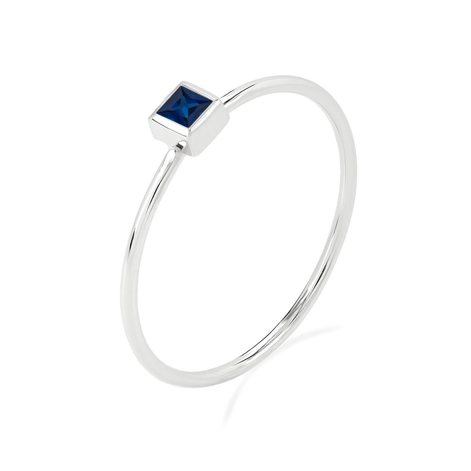 BallucciToosi Sapphire Ring - 14k Gold Stacking Band with Natural Blue Square Stone for Women - Solitaire Stackable Rings for Her