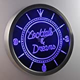 nc0308-b Cocktails & Dreams Bar Wine Neon Sign LED Wall Clock