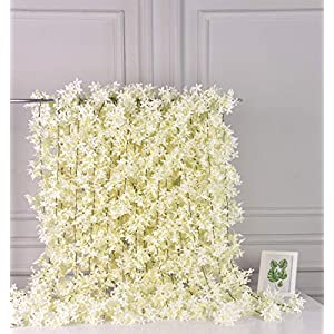 AlphaAcc Artificial White Silk Cherry Blossom Flower Vine Hanging Garland Home Wedding Party Decor, Pack of 4 14