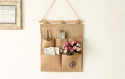 Lino/Algodón tela 7 bolsillos de pared para puerta armario para colgar bolsa de almacenamiento
