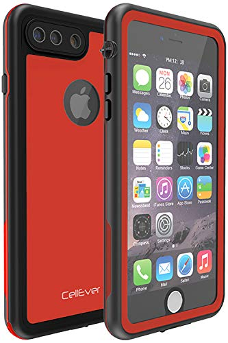 CellEver iPhone 7 Plus / 8 Plus Waterproof Case Shockproof IP68 Certified SandProof Snowproof Full Body Protective Clear Transparent Cover Fits iPhone 7 Plus/iPhone 8 Plus - KZ C-Red