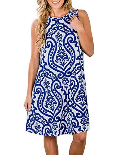 Esther Women's Summer Sleeveless Damask Print Pockets Loose T-Shirt Dress Swing Shift Dress (A-Blue, M)