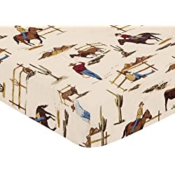 Sweet JoJo Designs Fitted Crib Sheet for Wild West Cowboy Bedding Sets