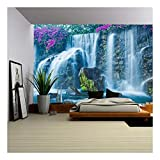 wall26 - Beautiful Blue Waterfall in Hawaii - Removable Wall Mural   Self-Adhesive Large Wallpaper - 100x144 inches