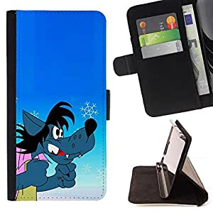 BullDog Case - FOR/Samsung Galaxy Note 3 III / - / wolf comic cartoon russian character funny /- Monedero de cuero de la PU Llevar cubierta de la caja con el ID Credit Card Slots Flip funda de cuer
