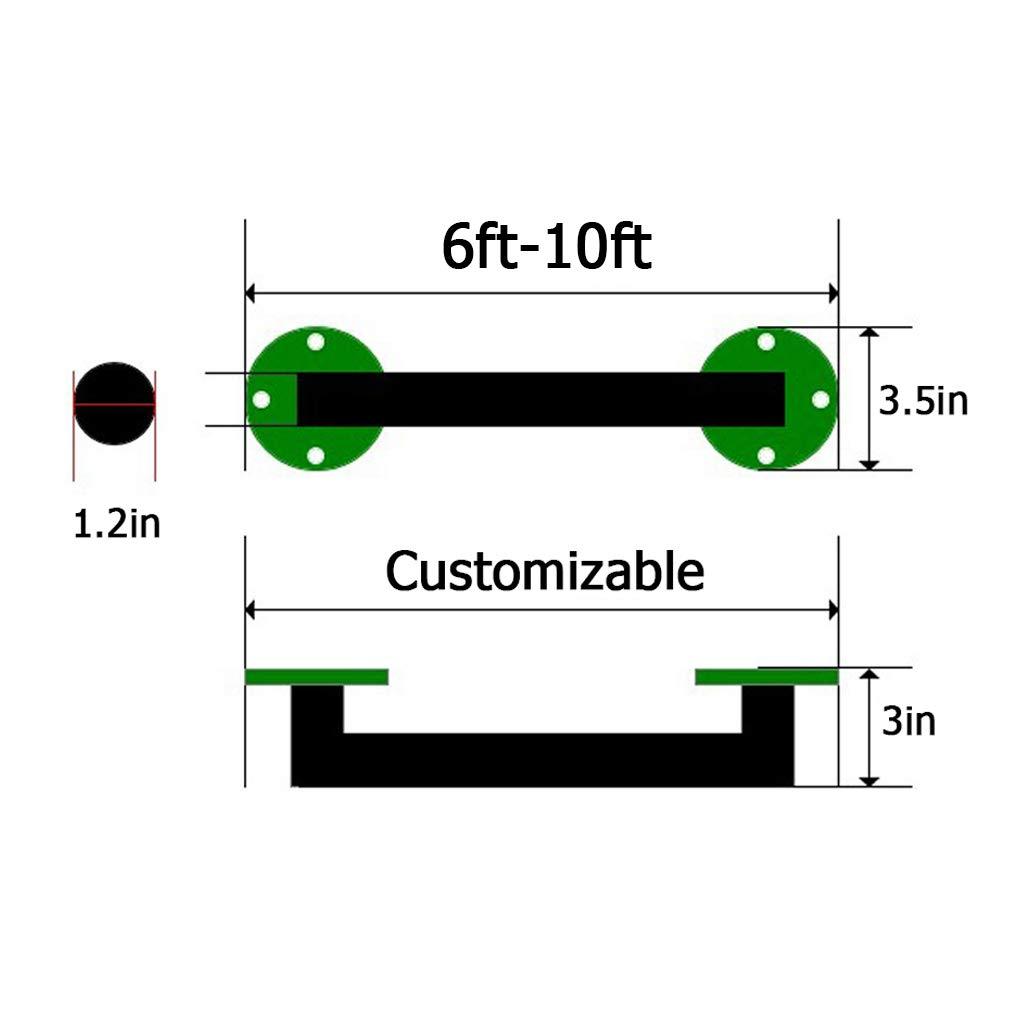 2,7/m Design Tuyau /à Eau en Fer Rampe descalier JJHOME-Handrails Main Courante pour lint/érieur et lext/érieur Rampe descalier Accessoires complets Noir Fer Support escalier