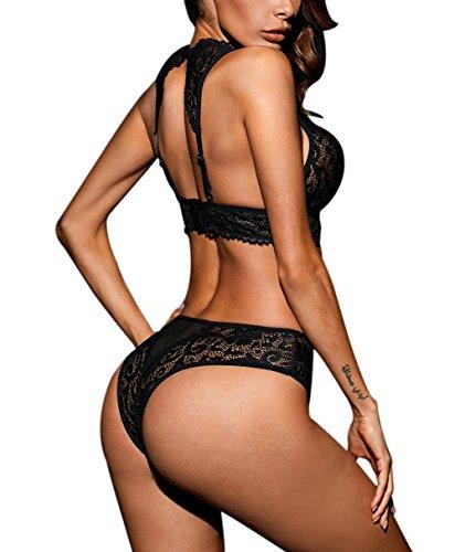 1fa2d9c53d1 Amazon.com  justbuy-us Women Sexy Push Up Stretch Lace Bralette Lingerie  Set Lace Bra and Panties  Clothing
