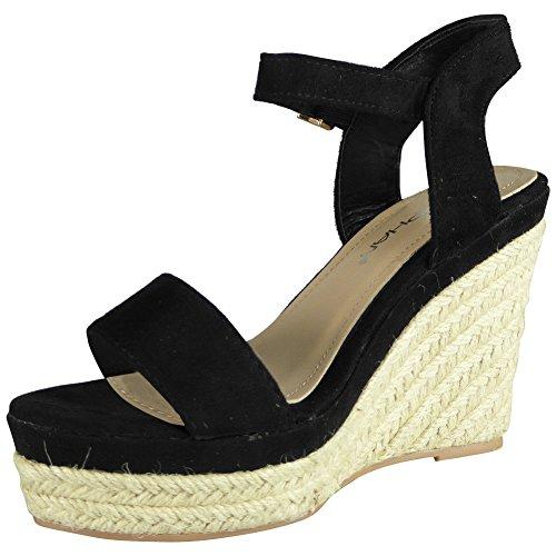 Loud Look Womens Ladies Platform Party Espadrilles Suede Platform Shoes Wedge Sandals Size 3-8 Black wfSC9