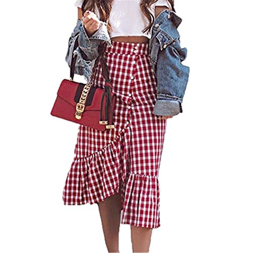 JIANGTAOLANG Women Midi Red White Plaid Empire Long Skirts Ruffled High Waist Cotton Club Skirt Red Plaid (Silhouette Mini Button)