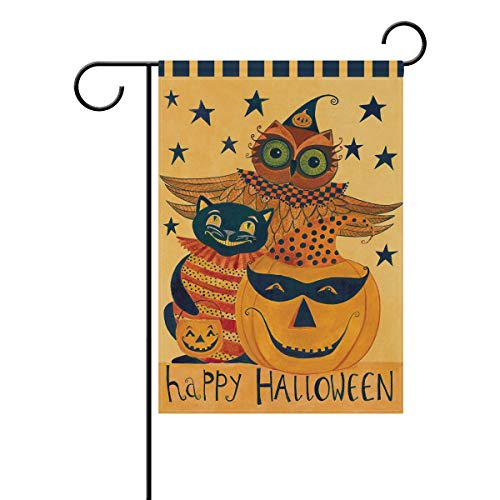 Wamika Happy Halloween Pumpkin Owl Black Cat Double Sided Garden Yard Flag 12'' x 18'', Halloween Trick Treat Fall Festive Autumn Decorative Garden Flag Banner Outdoor Home Decor Party by Wamika