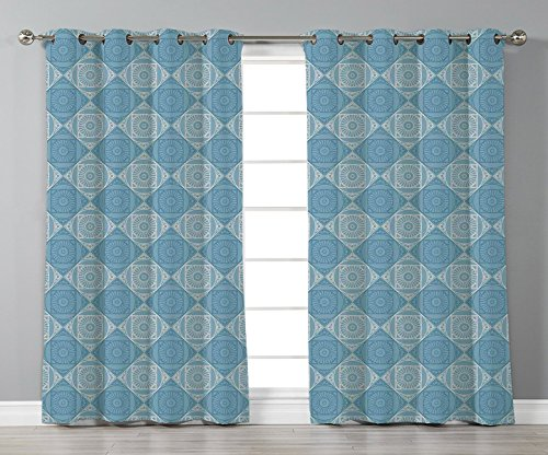 Satin Grommet Window Curtains,Geometric Decor,Ethnic Egyptian Motif with Symmetric Forms Arabesque Ancient Artwork,Teal Light Yellow,2 Panel Set Window Drapes,for Living Room Bedroom Kitchen Cafe (Egyptian Motif)