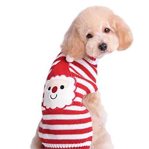 Cheap OLLYPET Cute Small Dog Sweater Christmas Clothes For Small Dogs Cat Winter Knitted Apparel Puppy Santa Claus Clothing With Stripes Medium Red XL