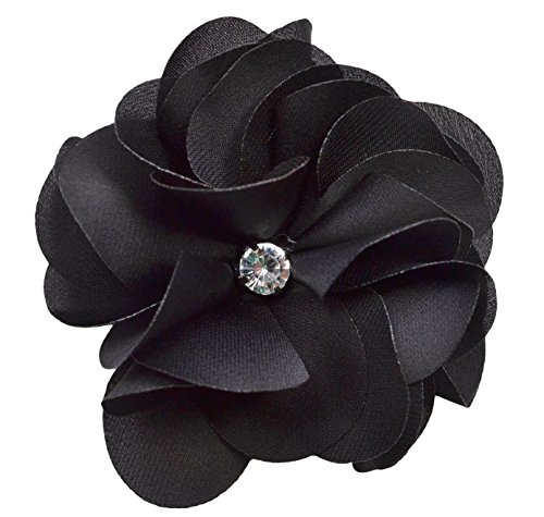 Ruby Satin Flower Hair Clip By Funny Girl Designs (Black)