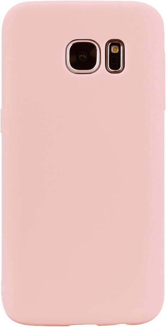 cuzz Funda para Samsung Galaxy S7 Edge+{Protector de Pantalla de Vidrio Templado} Carcasa Silicona Suave Gel Rasguño y Resistente Teléfono Móvil Cover-Rosa Claro