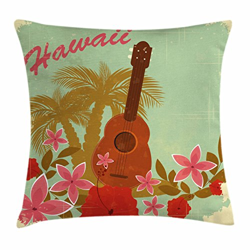 Vintage Hawaii Throw Pillow Cushion Cover by Lunarable, Soft Colored Poster Design Musical Instrument Hibiscus and Tropical Flowers, Decorative Square Accent Pillow Case, 18 X 18 Inches, (Hibiscus Pillow)