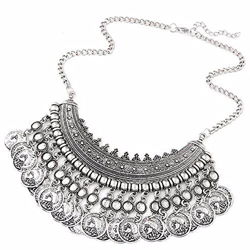 (Intricate Bohemian Tribal Bib Multi Coin Necklace by Pashal (Silver))