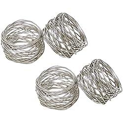 SKAVIJ Silver Napkin Rings Set of 4 Round Handmade Mesh Weddings Dinner Parties Every Day Use