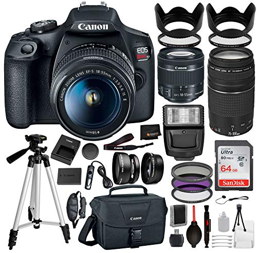 Canon EOS Rebel T7 Digital SLR Camera with EF-S 18-55mm is ii, Canon EF 75-300mm Telephoto Lens USA (Black) 19PC Professional Bundle Package Deal –SanDisk 64gb SD Card + Canon Shoulder Bag+ More