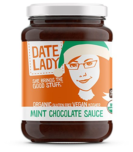 Premium Organic Mint Chocolate Spread - Date Lady 10.7oz Glass Jar - NO HFCS, Vegetable Oils, Nuts, Cane Sugar or Fillers - VEGAN, GLUTEN-FREE, PALEO-FRIENDLY & KOSHER | Perfect for the Holidays! (Sauce Chocolate Organic)