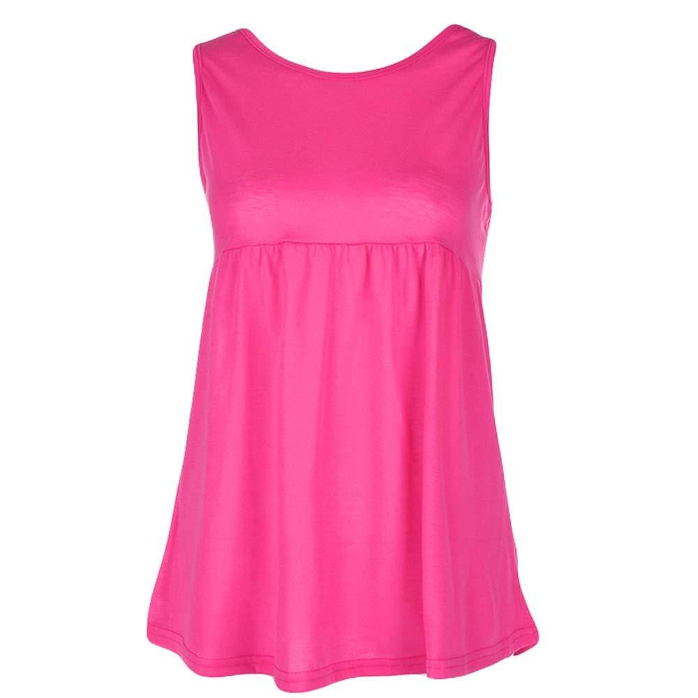 Women Fashion Plus Size Vest Summer Sleeveless Cami T Shirt for Men Top Cotton Shirt Blouse Scoop Neck Hot Pink