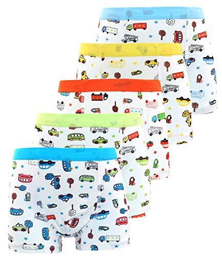 Auranso Boys Boxer Briefs Toddler Kids Car Underwear Assorted Color 5 Pack 2-12T