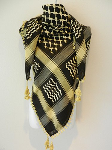 All Gold & Black Arab Shemagh Head Scarf Neck Wrap Authentic Cottton GD-BK