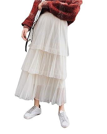 Faldas para Mujer Cintura Alta De Larga Falda Plisada Falda ...