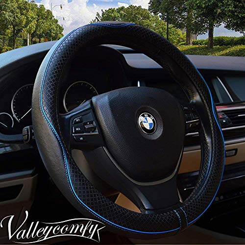 Valleycomfy Universal 15 inch Auto Car Steering Wheel Cover with Black Genuine Leather add Blue Lines for Escape Fusion Focus Corolla Prius Rav4 Tacoma Camry,etc. (Best Luxury Suv 2019)